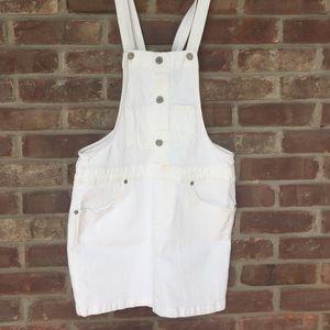 Levi's overall white denim skirt dress